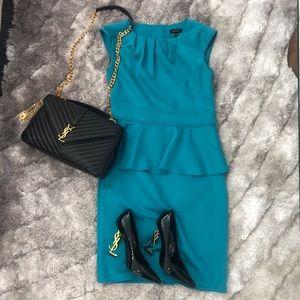 Dresses & Skirts - Midi peplum dress turquoise
